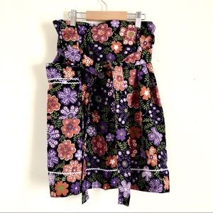 80s Skirt Style Floral Graphic Kitchen Apron